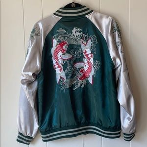 JAPANESE EMBROIDERED SILK BOMBER JACKET